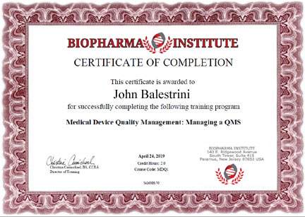 Sample Biopharma Institute Certificate  Biopharma Institute