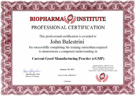 Professional Certificate of Completion BioPharma Institute
